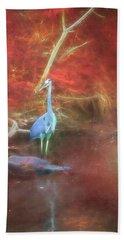 Blue Heron Red Background Bath Towel