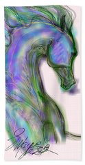 Blue Horse Painting Hand Towel