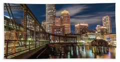 Blue Hour In Boston Harbor Hand Towel