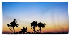 Blue Hour Sunset With Flowers Bath Towel