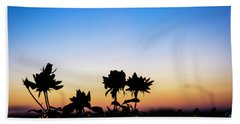 Blue Hour Sunset With Flowers Bath Towel