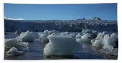 Blue Icebergs Floating Along Storm Arctic Coast Panorama Hand Towel