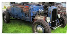 Blue Model A Ford Patina Rod Hand Towel