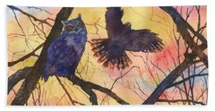 Blue Owl Hand Towel