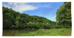 Bath Towel featuring the photograph Blue Sky At Cumberland River by Angela Murdock