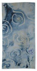 Bath Towel featuring the drawing Blue Spirals by AJ Brown