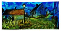 Bath Towel featuring the painting Blue Town by Harry Warrick