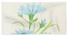 Blue Wildflowers Watercolor Bath Towel