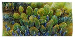 Bluebonnets And Cactus 2 Hand Towel