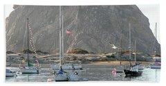 Boats In Morro Bay Hand Towel