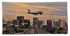 Boeing 747 Landing In San Diego Hand Towel