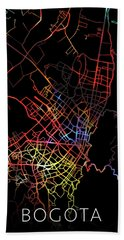 Bogota Colombia City Street Map Watercolor Dark Mode Bath Towel