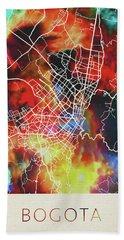 Bogota Colombia Watercolor City Street Map Bath Towel
