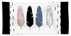 Boho Feathers - Boho Chic Ethnic Nursery Art Poster Print Bath Towel