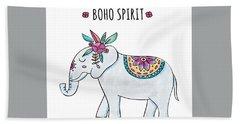 Boho Spirit Elephant - Boho Chic Ethnic Nursery Art Poster Print Bath Towel