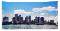 Boston Skyline From Boston Harbor  Hand Towel
