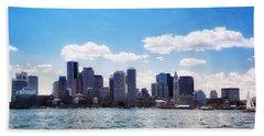 Boston Skyline From Boston Harbor  Bath Towel