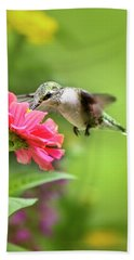 Botanical Hummingbird Bath Towel