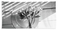 Bouquet And Plate-bw Bath Towel