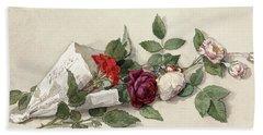 Bouquet Of Roses And Pelargonium, 1878 Hand Towel