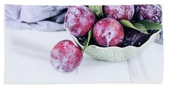 Bowl Of Fresh Plums Bath Towel