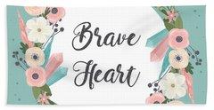 Brave Heart - Boho Chic Ethnic Nursery Art Poster Print Bath Towel