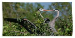 Breeding Herons Bath Towel