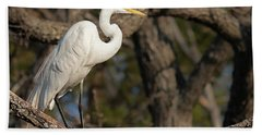 Bright White Heron Hand Towel