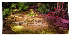 Brilliantly Lit Waterfall At Night Hand Towel