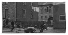 Bringing Home Some Salvaged Firewood In Slum Area In New Bedford  Massachusetts Bath Towel