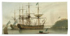 British Naval Ships Moored Off Mount Edgcumbe, Plymouth Hand Towel