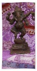 Bronze Ganesha Dancing, On Purple Bath Towel
