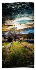 Brooding Sky Over Cemetery Hand Towel