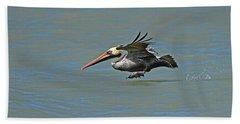 Brown Pelican Gliding Bath Towel