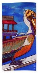 Brown Pelican On The Bay Bath Towel