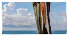 Brown Pelican Portrait Hand Towel
