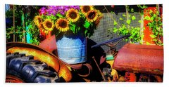 Bucket Of Sunflowers On Old Tractor Seat Bath Towel