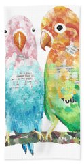 Budgies In Love Hand Towel