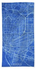 Buffalo New York City Street Map Blueprints Hand Towel