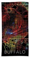 Buffalo New York City Street Map Watercolor Dark Mode Hand Towel
