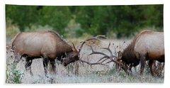 Bull Elk Battle Rocky Mountain National Park Bath Towel