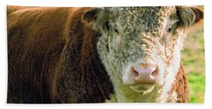 Bull In The Country Side Of Tasmania. Hand Towel