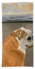 Bulldog  On The Beach Hand Towel