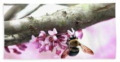Bumblebee On Redbud Flower Hand Towel