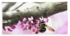 Bumblebee On Redbud Flower Bath Towel