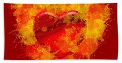 Hand Towel featuring the digital art Burning Heart by Alberto RuiZ