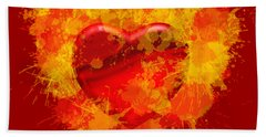 Burning Heart Bath Towel