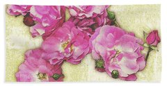 Bush Roses Painted On Sandstone Bath Towel