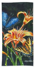 Butterflies And Flowers Sketch Hand Towel
