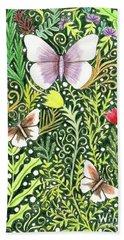 Butterflies In The Millefleurs Hand Towel
